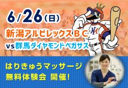 6/26(日)新潟アルビレックスBC vs 群馬ダイヤモンドペガサス
